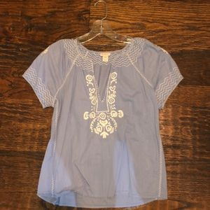 Lavender J crew factory embroidered top